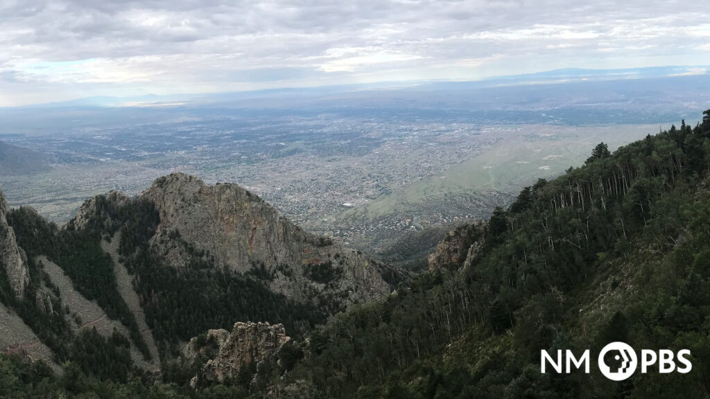 View of New Mexico desert from the peak of the Sandia Mountains.
