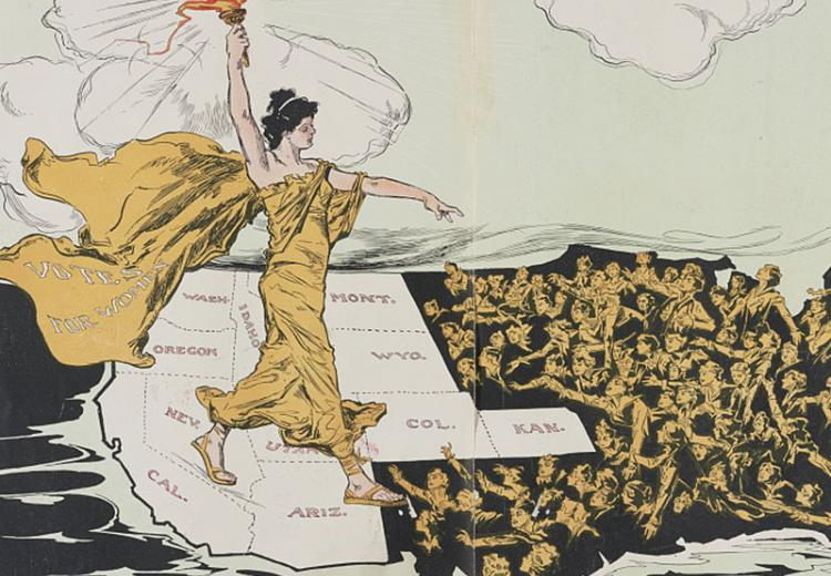 """Illustration of torch-bearing woman labeled """"VOTES FOR WOMEN"""" walks across the western U.S. into the east."""
